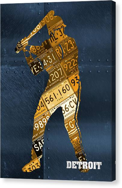 Detroit Tigers Canvas Print - Detroit Tigers Baseball Batter Player Recycled Michigan License Plate Art by Design Turnpike