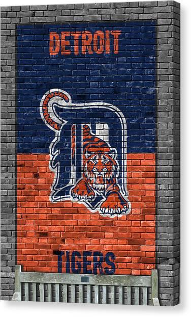 Detroit Tigers Canvas Print - Detroit Tigers Brick Wall by Joe Hamilton
