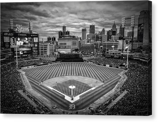 Detroit Lions Canvas Print - Detroit Tigers Comerica Park Bw 4837 by David Haskett II