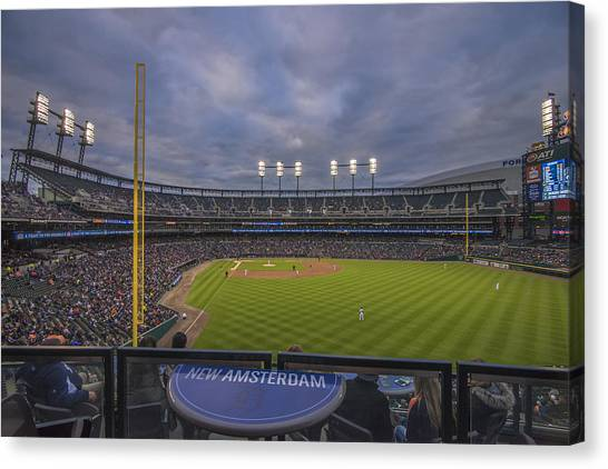 Milwaukee Brewers Canvas Print - Detroit Tigers Comerica Park Right Field View 1 by David Haskett II