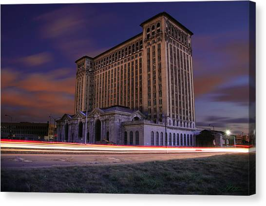 Michigan Canvas Print - Detroit's Abandoned Michigan Central Station by Gordon Dean II