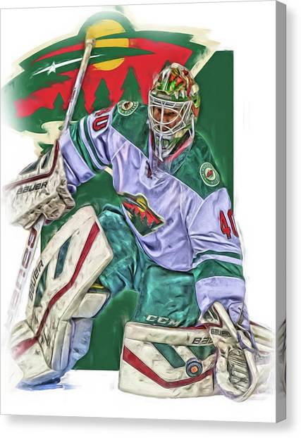 Boston Bruins Canvas Print - Devan Dubnyk Minnesota Wild Oil Art by Joe Hamilton