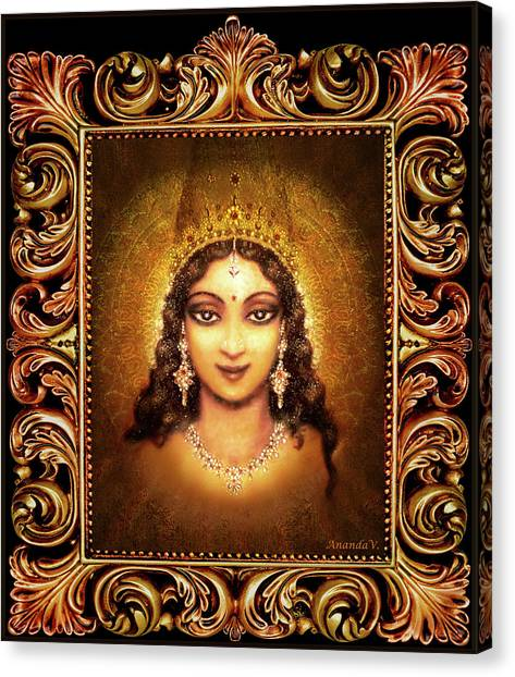 Devi Darshan In A Frame Canvas Print by Ananda Vdovic
