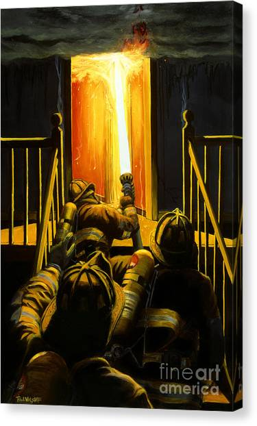 Fire Canvas Print - Devil's Stairway by Paul Walsh