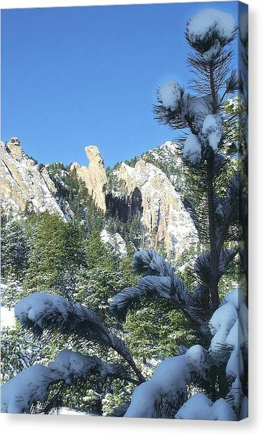 Devil's Thumb In Winter Canvas Print