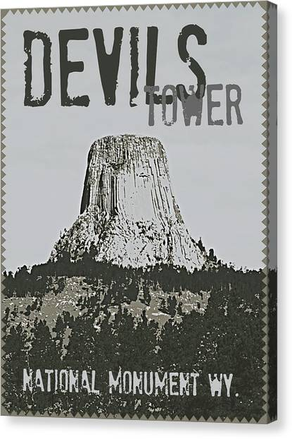 Devils Tower Stamp Canvas Print