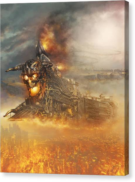 Canvas Print featuring the digital art Devils Train 2 by Uwe Jarling