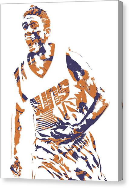 Phoenix Suns Canvas Print - Devin Booker Phoenix Suns Pixel Art 6 by Joe Hamilton