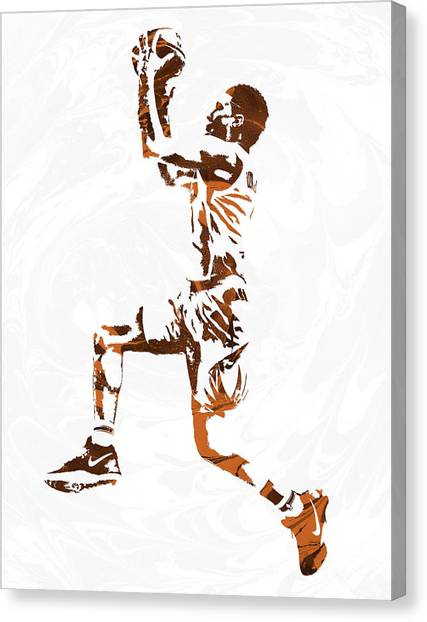 Phoenix Suns Canvas Print - Devin Booker Phoenix Suns Pixel Art by Joe Hamilton
