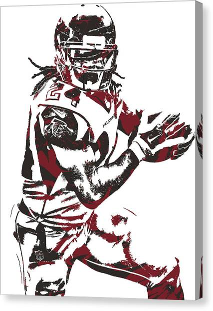 Atlanta Falcons Canvas Print - Devonta Freeman Atlanta Falcons Pixel Art 10 by Joe Hamilton