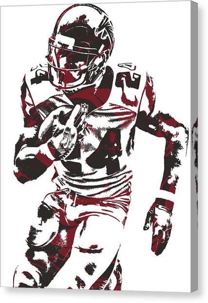 Atlanta Falcons Canvas Print - Devonta Freeman Atlanta Falcons Pixel Art 12 by Joe Hamilton