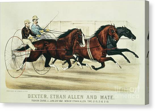 Currier And Ives Canvas Print - Dexter, Ethan Allen And Mate by Currier and Ives