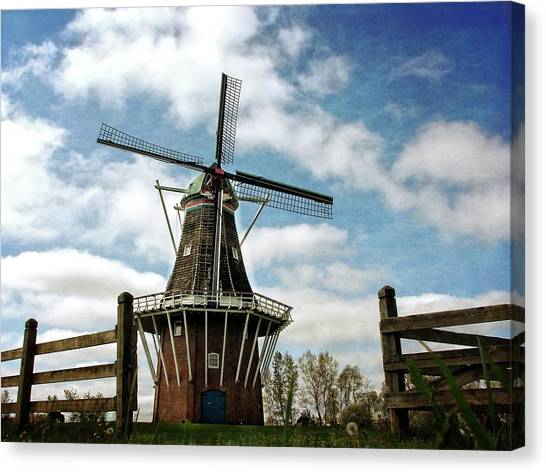 Dezwaan Windmill With Fence And Clouds Canvas Print