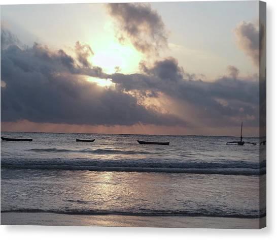 Exploramum Canvas Print - Dhow Wooden Boats At Sunrise 1 by Exploramum Exploramum
