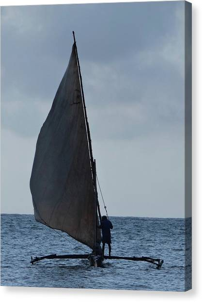 Exploramum Canvas Print - Dhow Wooden Boats In Sail by Exploramum Exploramum