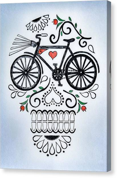 Skull Canvas Print - Muertocicleta by John Parish