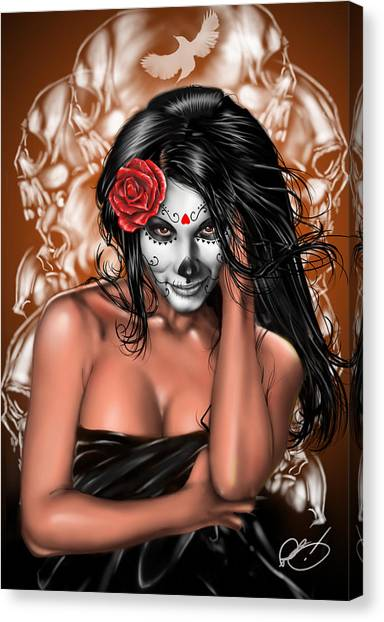 Sexy Canvas Print - Dia De Los Muertos Remix by Pete Tapang