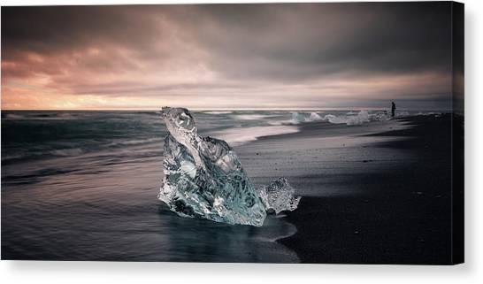 Black Sand Canvas Print - Diamond Beach by Tor-Ivar Naess