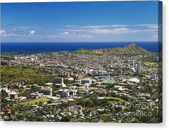 University Of Hawaii Canvas Print - Diamond Head Aerial by Greg Vaughn - Printscapes