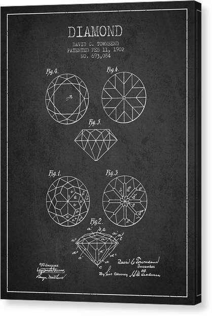 Gemstones Canvas Print - Diamond Patent From 1902 - Charcoal by Aged Pixel
