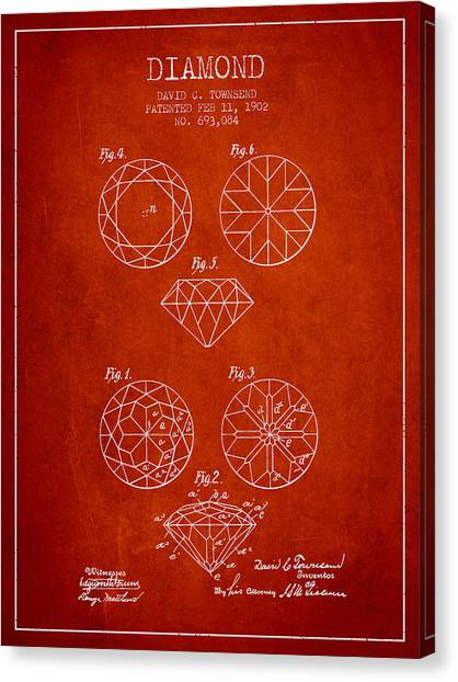 Gemstones Canvas Print - Diamond Patent From 1902 - Red by Aged Pixel