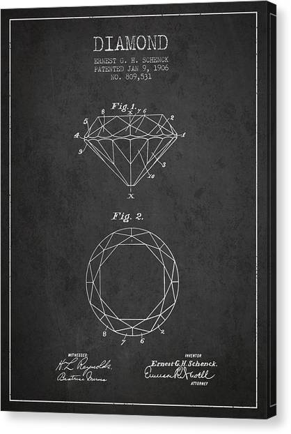 Gemstones Canvas Print - Diamond Patent From 1906 - Charcoal by Aged Pixel
