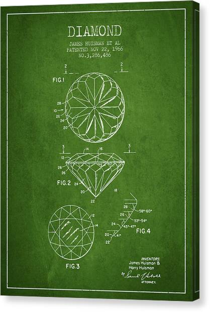 Diamond Ring Canvas Print - Diamond Patent From 1966- Green by Aged Pixel