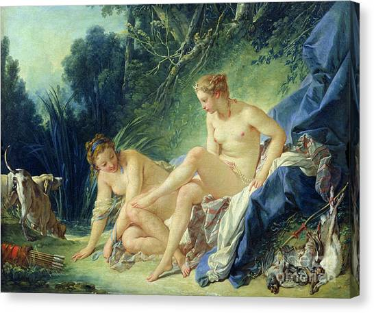 Boucher Canvas Print - Diana Getting Out Of Her Bath by Francois Boucher