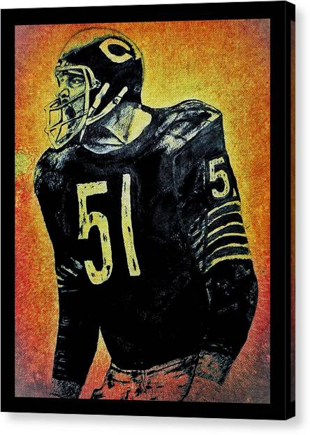Dick Butkus Canvas Print - Dick Butkus by Chris Grimm