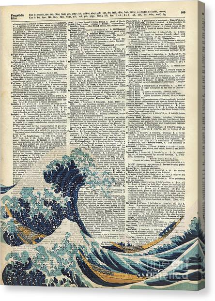 Tsunamis Canvas Print - Dictionary Art - The Great Wave Off Kanagawa  by Anna W