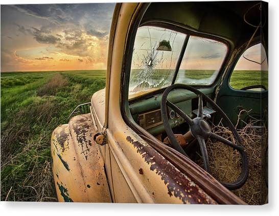 Ford Truck Canvas Print - Died Here by Thomas Zimmerman