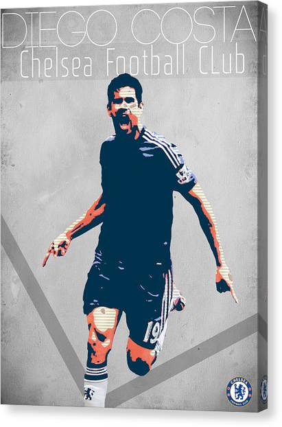 Atletico Madrid Canvas Print - Diego Costa by Semih Yurdabak