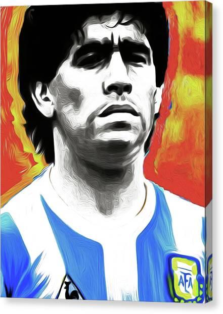 Diego Maradona Canvas Print - Diego Maradona By Nixo by Nicholas Efthimiou
