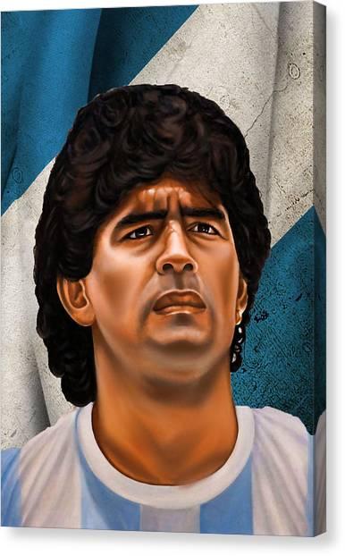 Diego Maradona Canvas Print - Diego Maradona by Mounir Meghaoui