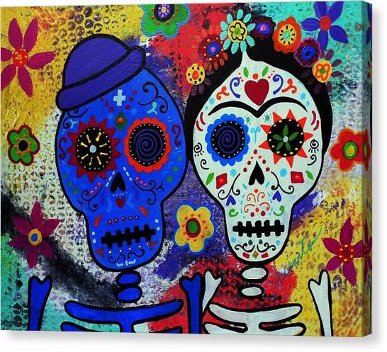 Diego Rivera And Frida Kahlo Dia De Los Muertos Canvas Print