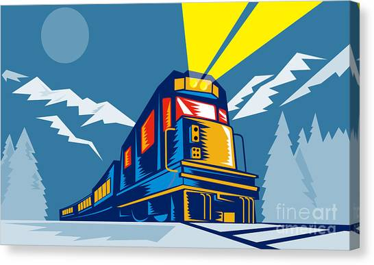 Mountains Canvas Print - Diesel Train Winter by Aloysius Patrimonio