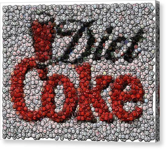 Coca Cola Canvas Print - Diet Coke Bottle Cap Mosaic by Paul Van Scott