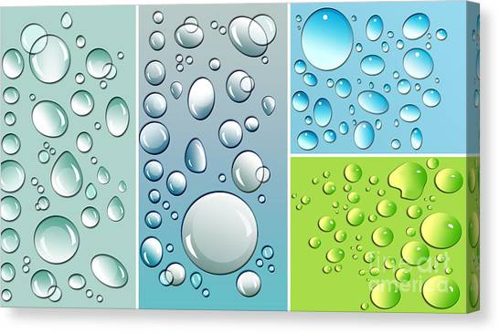 Raining Canvas Print - Different Size Droplets On Colored Surface by Sandra Cunningham