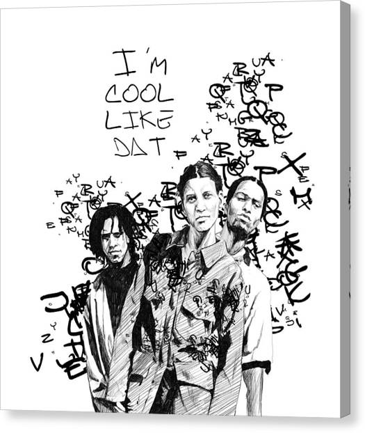 Pen And Ink Drawing Canvas Print - Digable Planets by Adrienne Norris
