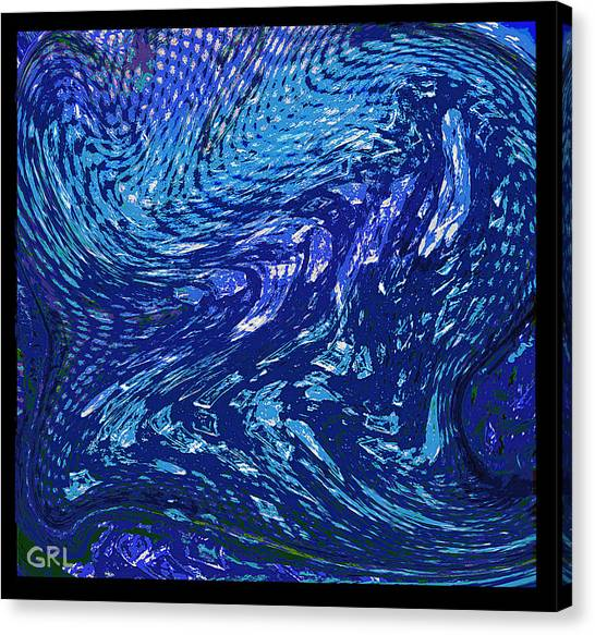 Canvas Print featuring the painting Digital Abstract Crystals In Iwarp Cosmos 3 by G Linsenmayer