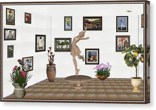 digital exhibition _ A sculpture of a dancing girl 14 Canvas Print