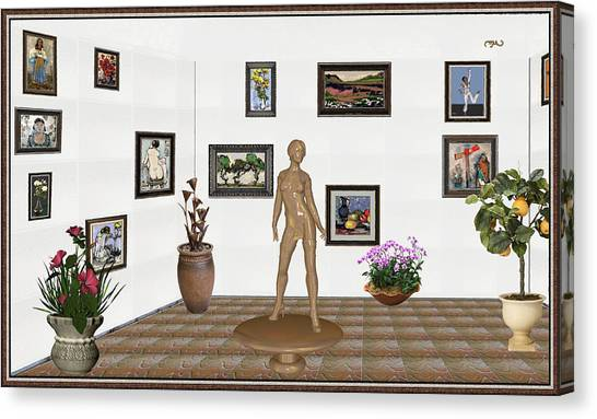 Statue Portrait Canvas Print - digital exhibition _ Statue of a Statue 21 of posing lady  by Pemaro