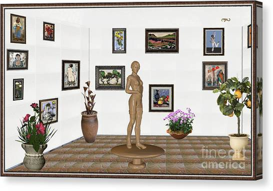 Statue Portrait Canvas Print - digital exhibition _ Statue of a Statue 22 of posing lady  by Pemaro