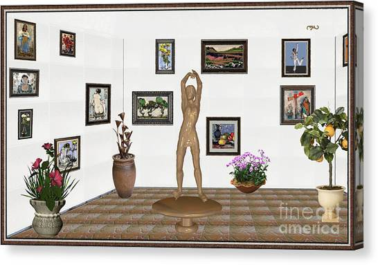 digital exhibition _ Statue of a Statue 23 of posing lady  Canvas Print