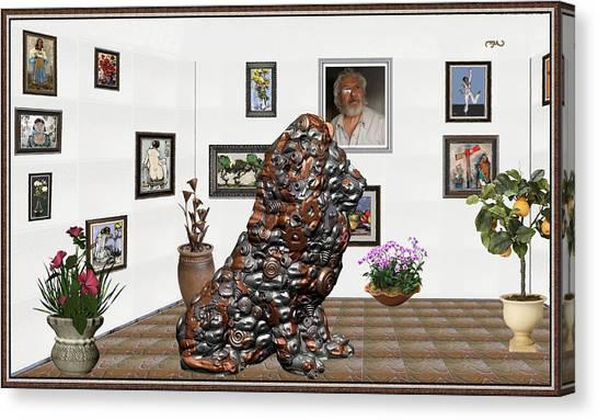 Statue Portrait Canvas Print - digital exhibition _Modern Statue of scrap by Pemaro
