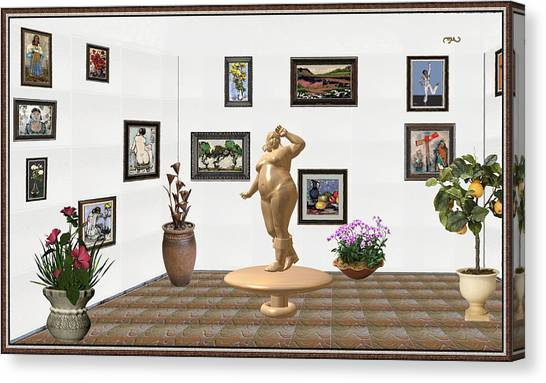 Statue Portrait Canvas Print - digital exhibition  Statue 23 of posing lady  by Pemaro
