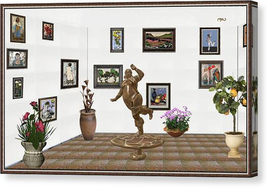 Statue Portrait Canvas Print - digital exhibition  Statue 24 of posing lady  by Pemaro