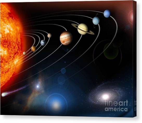 Outer Space Canvas Print - Digitally Generated Image Of Our Solar by Stocktrek Images