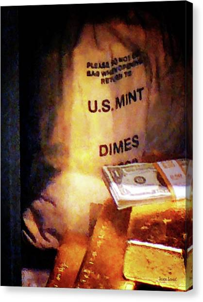 Dimes Dollars And Gold Canvas Print