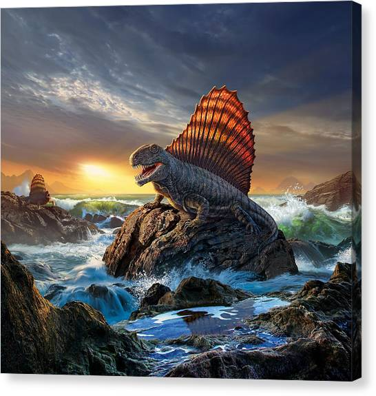 Prehistoric Canvas Print - Dimetrodon by Jerry LoFaro